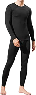 Mens Thermal Underwear Set Skiing Winter Warm Base Layers Tight Long Johns Tops and Bottom Set with Fleece Lined
