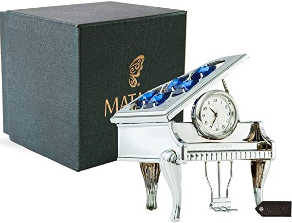 Matashi 24K Silver Plated Vintage Piano Desk Clock Gift For New Year Valentines Day For Shelf Desktop Tabletop Clock With A Luxury Gift Box Silver With Blue Crystals 2 5 X 2 X 3 Inches