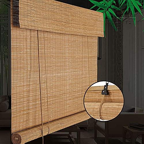 SFSGH Cortinas de bambú - Persianas de bambú para Ventanas, Retro Premium, Parasol/Aislamiento térmico, persianas para Ventanas, persianas enrollables, Cortinas de bambú, jardín y exteri