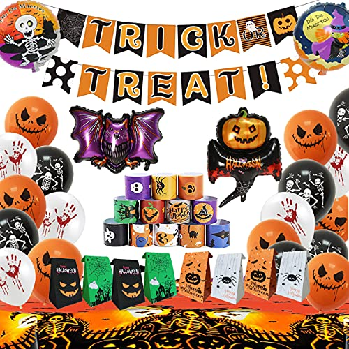 Halloween Party Supplies-Halloween Trick or Treat Theme Banner Balloon Candy Bag Halloween Children Clapping Hands Bracelet and Tablecloth Cute Halloween Party Decorate Gifts