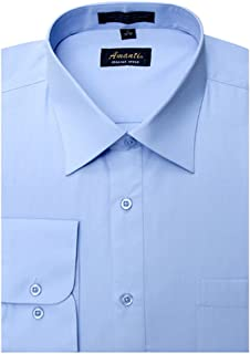 Amanti Baby Blue Colored Men's Dress Shirt Convertible Cuff Classic 18.5-36/37