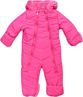 Steve Madden Baby Girls Snowsuit Pram – Poly Filled and Polar Fleece Lined with Sherpa Fur Hood (Infant Size)