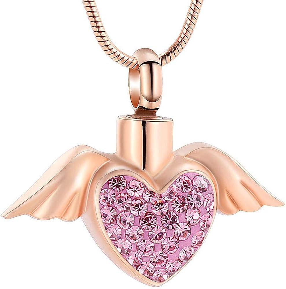 Imrsanl Cremation Jewelry with Angel Wings Charm Locket Memorial Ash Pendant - Heart Urn Necklace Keepsake Jewelry for Women Girls