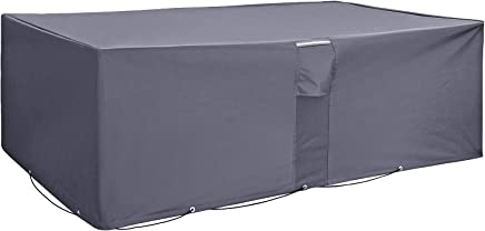 SONGMICS Garden Furniture Set Cover, 600D Oxford Fabric Waterproof Protective Cover, for Outdoor Patio Table and Chairs, Anti-Fade, 250 x 200 x 80 cm (L x W x H), Dark Grey GFC92G
