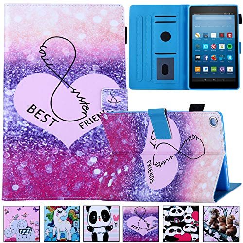 Kindle Fire HD 8 Tablet Case,Artyond Cards Slots PU Leather Case with Auto Wake/Sleep Cover Slim Folio Lightweight Smart Case for Amazon Kindle Fire HD 8 2016/2017/2018 Release (Best Friends)