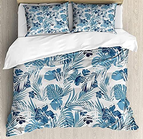 HUA JIE Cute Duvet Cover Leaf Duvet Cover Set Island Ocean Beach Sea Inspired Hawaiian Flowers Palm Tree Leaves Art Print,3 Piece Bedding Set With 2 Pillow Shams