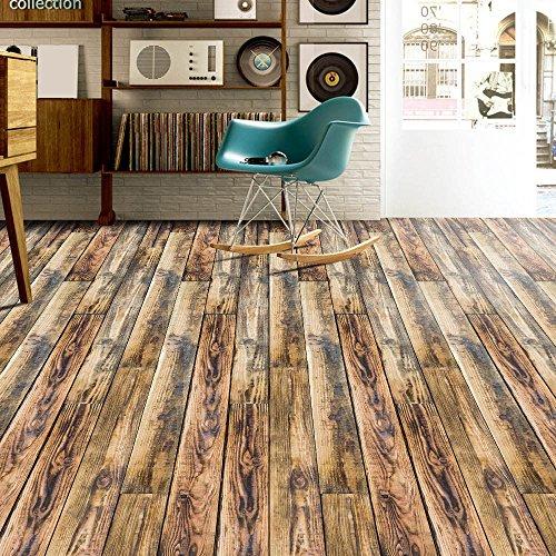 Meclelin PVC Selbstklebend Bodenbelag Holzoptik Wandtattoo Aufkleber Klebstoff Fliesen Kunst Boden DIY Küche Badezimmer Dekor 20x50cm (H)