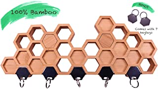 Bamboo Wall Key Rack Holder|Honeycomb|Magnetic Hanging|Minimalist|Organizer|Wall Mounted No Hook Design|Stylish|Modern|Strong and Heavy Duty|Leash Holder and Sleek Design