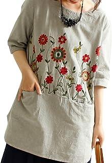 (sawa a la mode)サワアラモード レディース 花柄 刺繍 シャツ ワンピース ミディアム丈 七分丈 体系カバー 7分丈 チュニック mode-0399 F グレー
