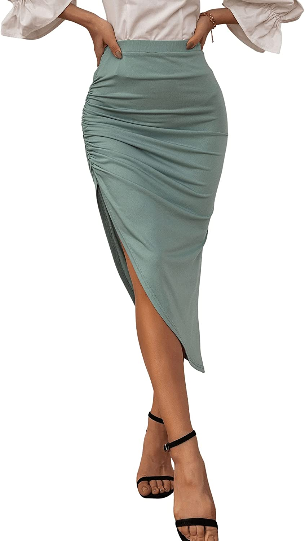 Milumia Women's Asymmetrical Hem Elastic High Waist Ruched Bodycon Midi Skirt