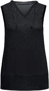 Mimfor Women Casual Loose Sport Yoga Sleeveless Hooded Pocket Shirt Tops Tank Blouse