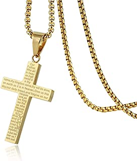 HZMAN Mens Carved Jesus Christ Crucifix Cross Lord's Prayer Stainless Steel Pendant Necklace