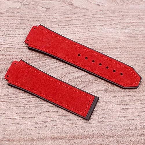 Correa De Reloj Reloj Accesorios Correa de reloj de cuero mate compatible con Hublot Hublot Big Bang Silicone Strap Men's Women's Women's Band Nylon ( Band Color : Red , Band Width : 25mm No buckle )
