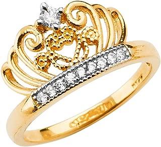 Ioka -14K Solid Two Tone Gold Round Cut CZ Princess Crown OR Tiara Ring