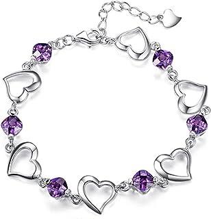 أنثوي سوار كريستال سحر 925 الفضة الاسترليني سوار للنساء قلب سلسلة ربط أساور يانجين (اللون: أرجواني)