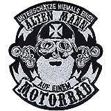 Toppa da cucire con ferro da stiro, motivo motociclista, per giacca, gilet, jeans/barca/moto, 100 x 85 mm