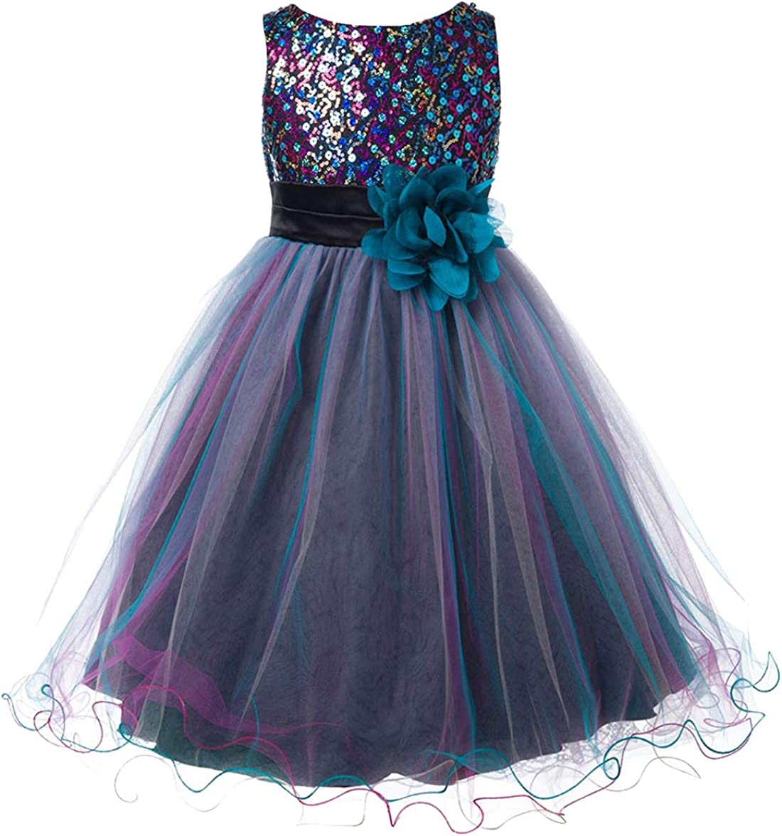 Flower Girls Christmas Holiday Father Daughter Dancing Party Sequin Tulle Dress Pageant Wedding Prom