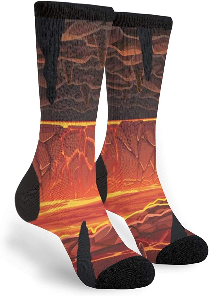 Hot Cave With Lava Unisex Casual Sports Socks Knee High Athletic Long Tube Stockings
