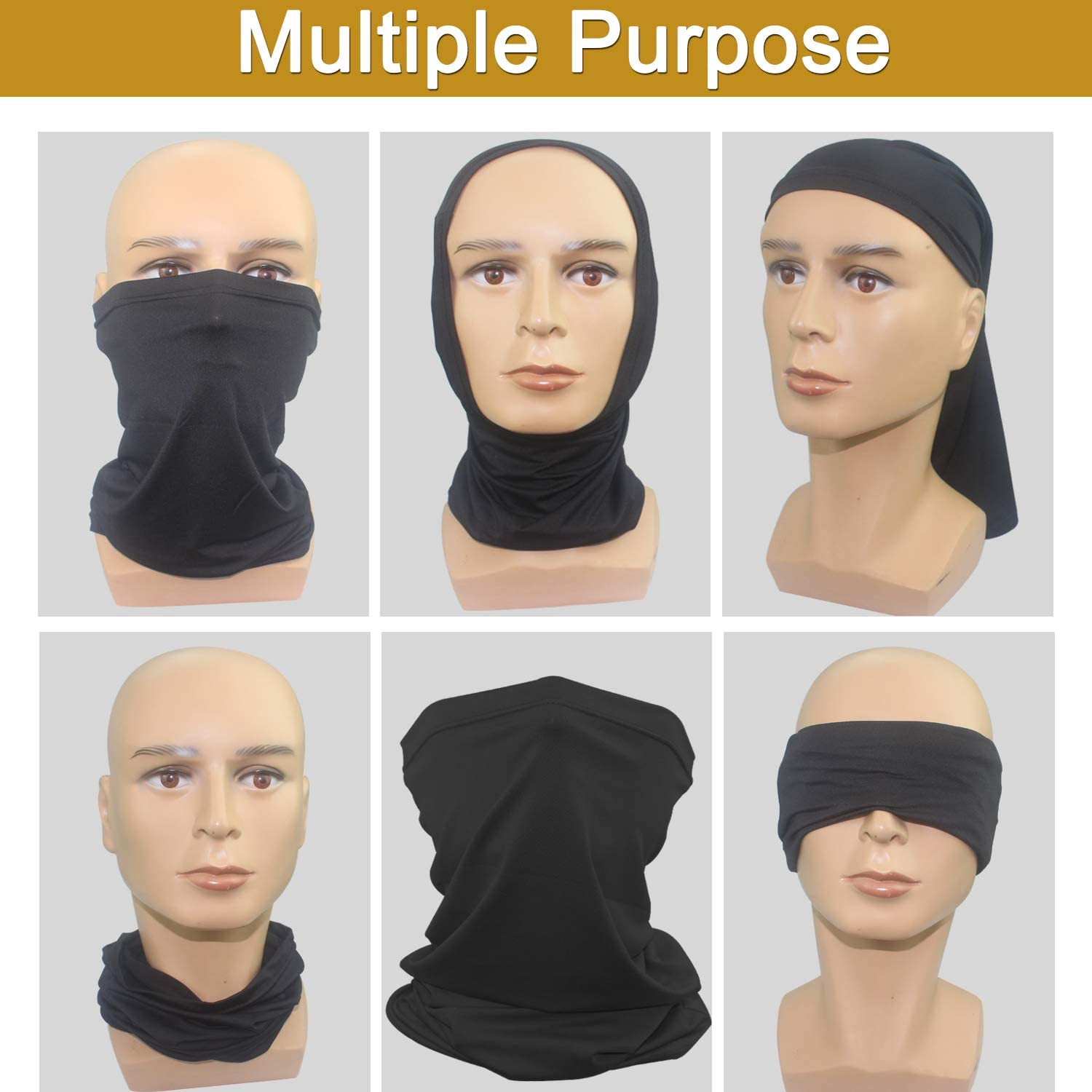 WeiMeet 6 Pieces Neck Gaiters Windproof Scarf Dust Face Mask Sun UV Protection Neck Scarves Wraps for Men Women Outdoor Sports