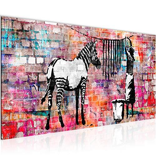 Bilder Banksy Washing Zebra Wandbild Vlies - Leinwand Bild XXL Format Wandbilder Wohnzimmer Wohnung Deko Kunstdrucke Bunt 1 Teilig - MADE IN GERMANY - Fertig zum Aufhängen 012912c