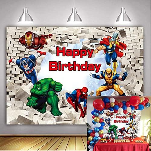 LXN Vengadores Telón de fondo de Vengadores Superhéroe Blanco Pared de ladrillo Fotografía Fondo Tema Superhéroe Fiesta de Cumpleaños Suministros para Niños Pastel Decoración de Mesa de 6 x 4 pies