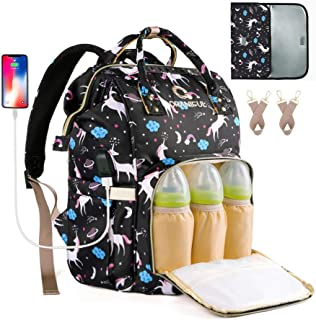 Diaper Backpack Nappy Bags Mom ORANIFUL Travel USB Charging Port Changing Pad