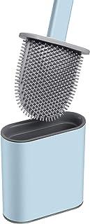 Brosse Toilette Silicone avec Support Brosse WC Suspendu Antibactérienne Balayette WC pour Salle de Bains Bleu