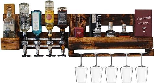 Weinbar/Schnapsbar mit Flaschenhalter, Weinregal Paletten-Möbel, Wand Regal als Hausbar zum Hängen, Weinglashalter und Getränkespender, Hand-Made…