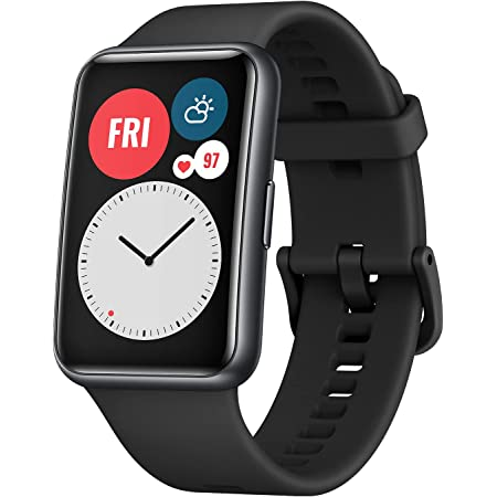 """HUAWEI Watch FIT Bluetooth SmartWatch, 1.64"""" Vivid AMOLED Display, Quick-Workout Animations, 10 Days Battery Life, Sport GPS Fitness Tracker, 5 ATM Waterproof, for Android Phone, Graphite Black"""