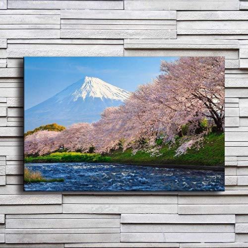 wZUN Pintura en Lienzo decoración del hogar Fuji Mountain Sakura Poster Hotel Corridor Print Sakura River Mural 60x90cm Sin Marco