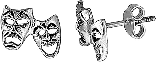 Tiny Sterling Silver Drama Masks Stud Earrings 3/8 inch