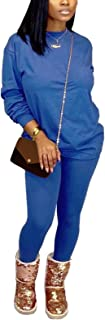 Annystore Women's Fall Long Sleeve 2 Piece Tracksuit Outfit Casual T-Shirts Bodycon Long Pants Set Activewear Jumpsuit