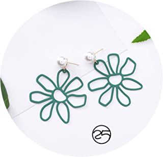 Earrings for Women Drop Earring Crystal Forest Series Gifts Tassel Cactus Metal Dripping Ball 1Pair Oil Pearl Green Long Acrylic Flower Simple