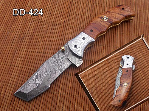 Damascus Steel Tracker Blade Folding Knife, Natural Wood Scale Camping Knife, Equipped with Liner Lock and Thumb knob, Leather Sheath Included