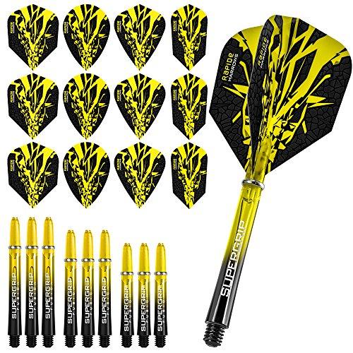 Harrows Rapide Fusion X Kombi-Kit mit Dart-Flights und Dartschäften, Gelb, mit kurvigem Kugelschreiber von Darts Corner