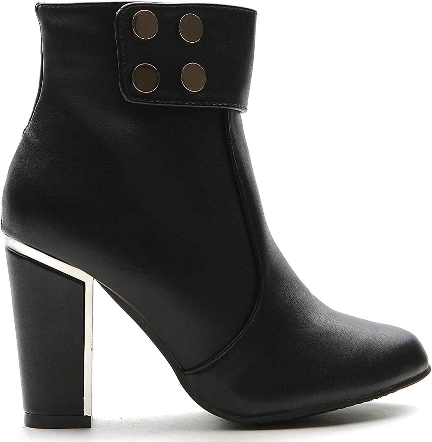 Ollio Women's shoes Button Accent Side Zip Closure High Heels Ankle Boot