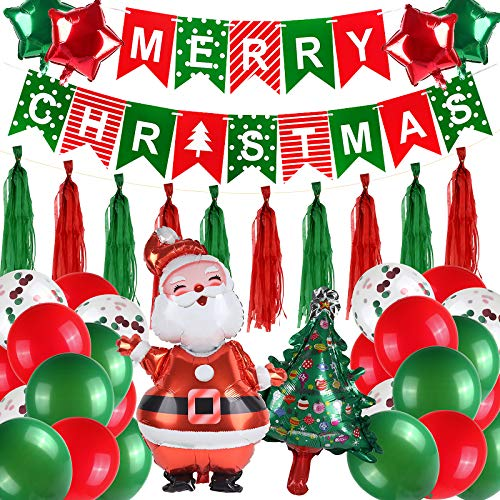 RECUTMS Christmas Party Supplies Decorations Kit (53 PCS), Merry Christmas Banner, Latex Balloons,Tassel, Christmas Decorations Ornaments Indoor Outdoor
