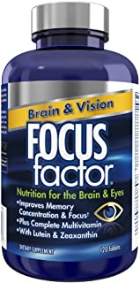 Focus Factor Brain & Vision - Eye Vitamin & Mineral Supplement w/ Lutein and Zeaxanthin from AREDS 2 study (120 Count)