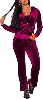 Leezeshaw Women Solid Full Zipper Hooded Activewear 2Pcs Velvet Athletic Sweatshirts