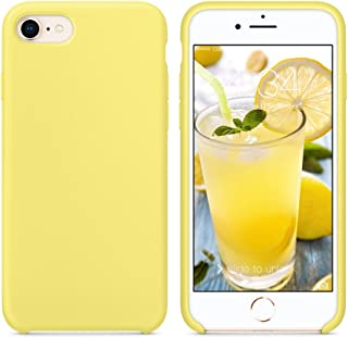 """SURPHY Silicone Case for iPhone SE 2020 Case, for iPhone 8 Case iPhone 7 Case, Liquid Silicone Phone Case (with Microfiber Lining) for iPhone 7 iPhone 8 iPhone SE 2nd 4.7"""" (Yellow)"""