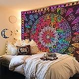 Tapiz de mandala estético colorido tríptico de pared Tapiz bohemio hippie sol luna y estrella tapices para decoración de dormitorio 130 x 150 cm