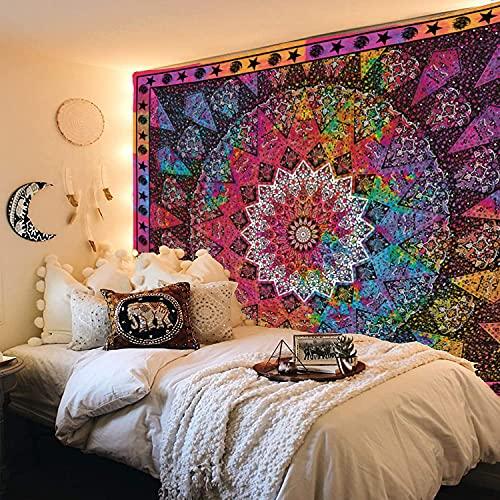 Bunter ästhetischer Mandala-Wandteppich, Trippy-Wandkunst, Bohemian-Stil, Hippie, Sonne, Mond & Stern, Wandteppiche für Schlafzimmer, Dekoration, 130 x 150 cm