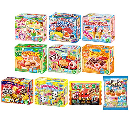 Kracie Japanese DIY Candy 'Popin Cookin & Happy Kitchen' Assorted 10 set: Doughnut, Hamburger, Pizza, Taiyaki & Odango, Sushi, Bento, Pudding Parfait, Cake, Ramen, Takoyaki (Ninjapo Wrapping)