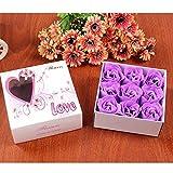 Bebliss 9Pcs künstliche duftende Rosenblüten Bouquet Geschenkbox Bad Körper Blume Seife Geschenk...