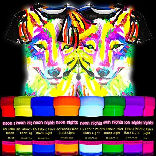 Fluoreszierende Stoffmalfarbe | 8 Schwarzlicht Textilfarben | Neon Leuchtfarbe im Set für knalligen Leuchteffekt | 8 x 20 ml UV Farben | Ideal zum T-Shirt bemalen