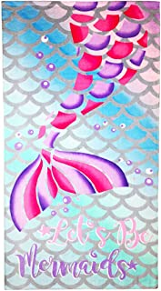 """YIFONTIN Beach Towel for Kids Cotton Soft Blanket Throw 24"""" X 48"""" Mermaid Tail Terry Towel for Travel Beach Swimming Bath Camping and Picnic, Pink"""