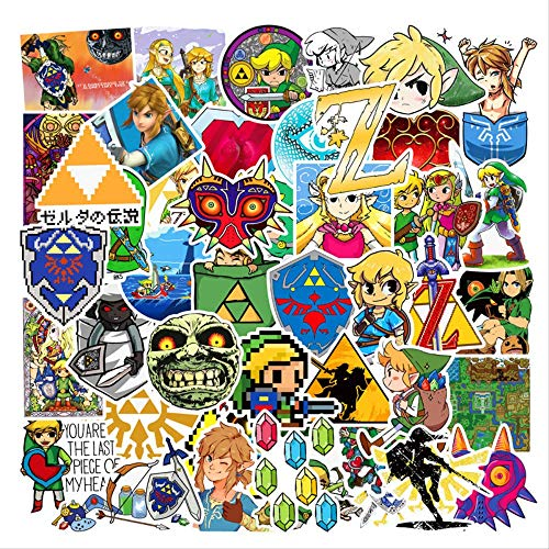 AXHZL Game The Legend of Zelda Stickers Waterproof PVC Skateboard Laptop Bicycle Luggage Guitar Funny Sticker Kids Toys 50 Pcs