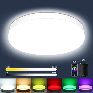 Oraymin Plafonnier LED 12W Connecté WiFi (RGB + Blanc Froid à Chaud 2700-6500K) - 1200LM Lampe de Plafond LED Etanche IP54...