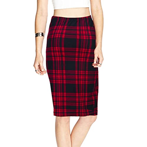 1c439d92be TEERFU Womens High Waist Plaid Bodycon Stretchy Elastic Office Midi Pencil  Skirt