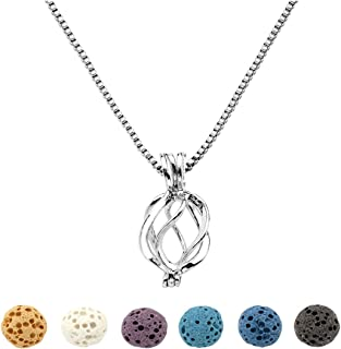 Top Plaza Natural Lava Rock Stone Aromatherapy Essential Oil Diffuser Necklace Silver Locket Pendant With 6 Dyed Lava Beads(Twisted Round)